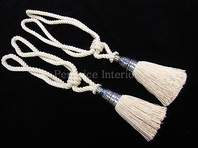 2 curtain tassel tiebacks Natural cotton rope drape tie backs ...