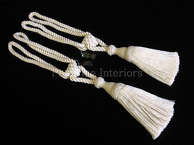 2 natural cotton curtain tiebacks - Jones Interiors cream tie ...
