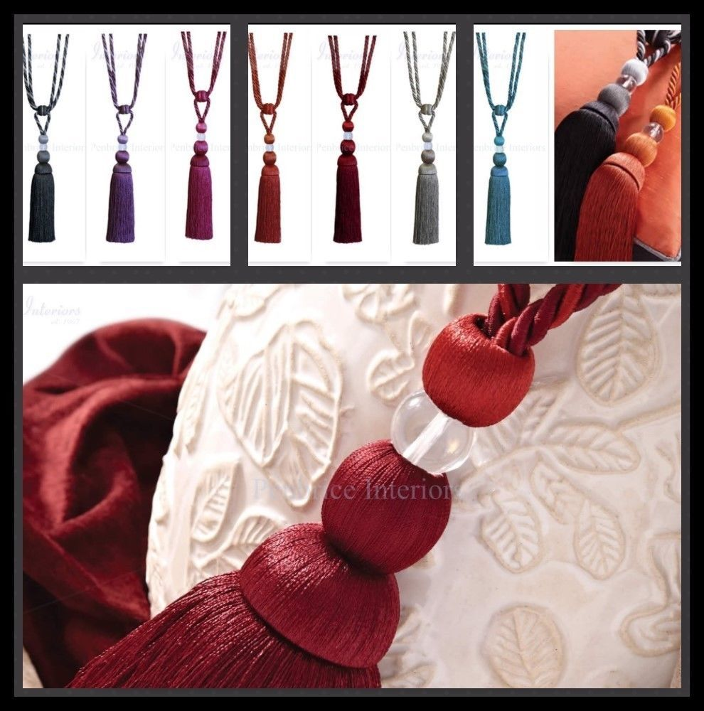 Pair Of Two Tone Curtain Rope Tassel Tie Backs Chic HB551