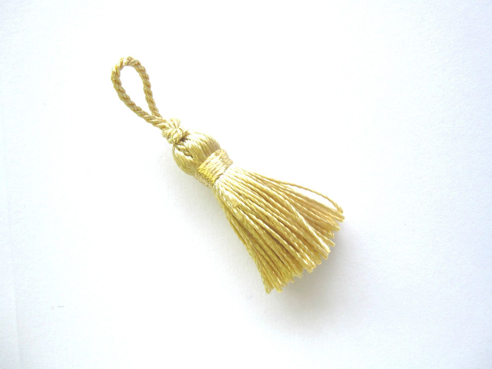 10CM PACK OF 10 SMALL CRAFT DECORATIVE YELLOW GOLD TASSELS