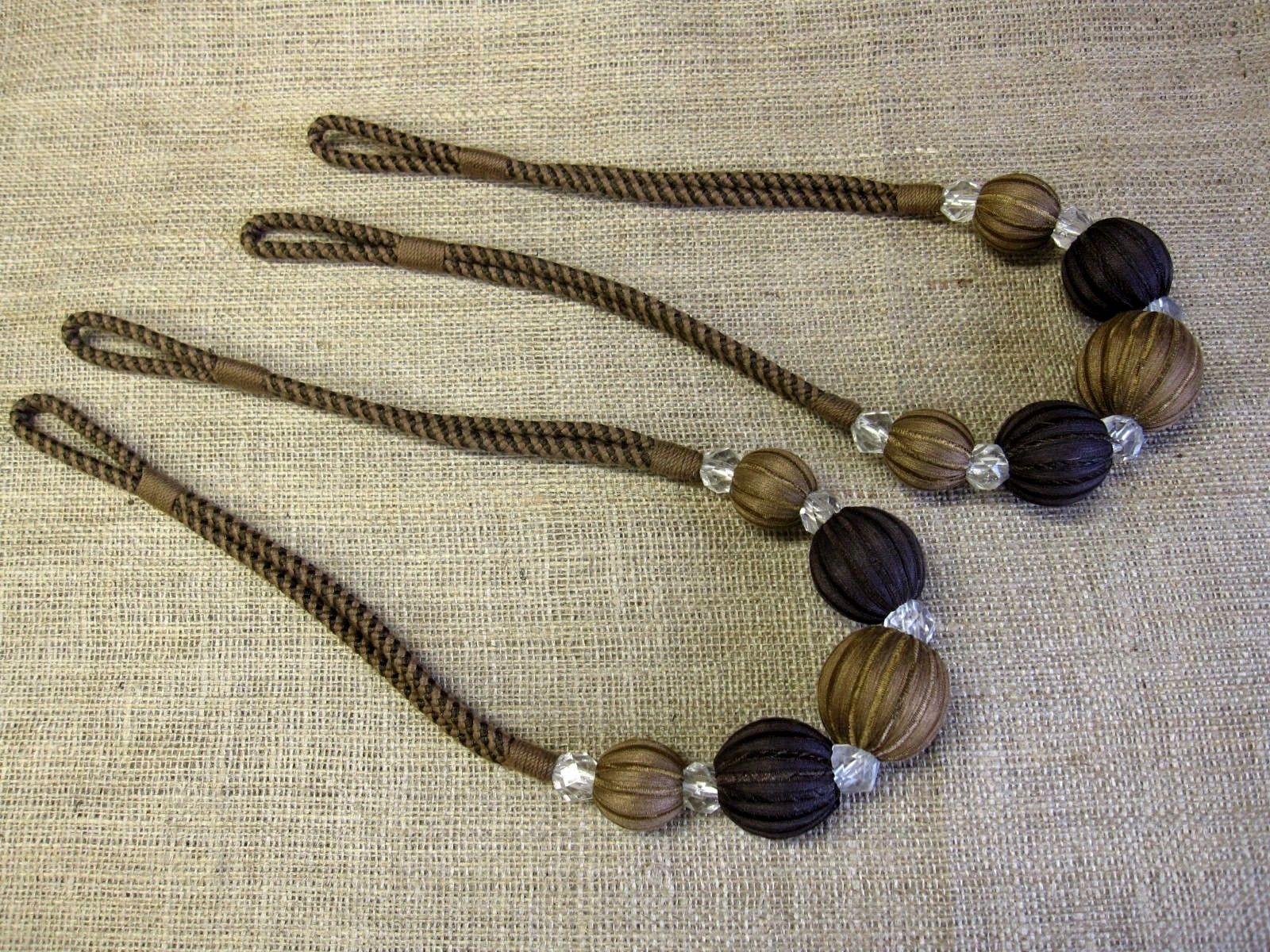 2 Brown Abacus Curtain Tiebacks Ball Amp Crystal Tie Backs