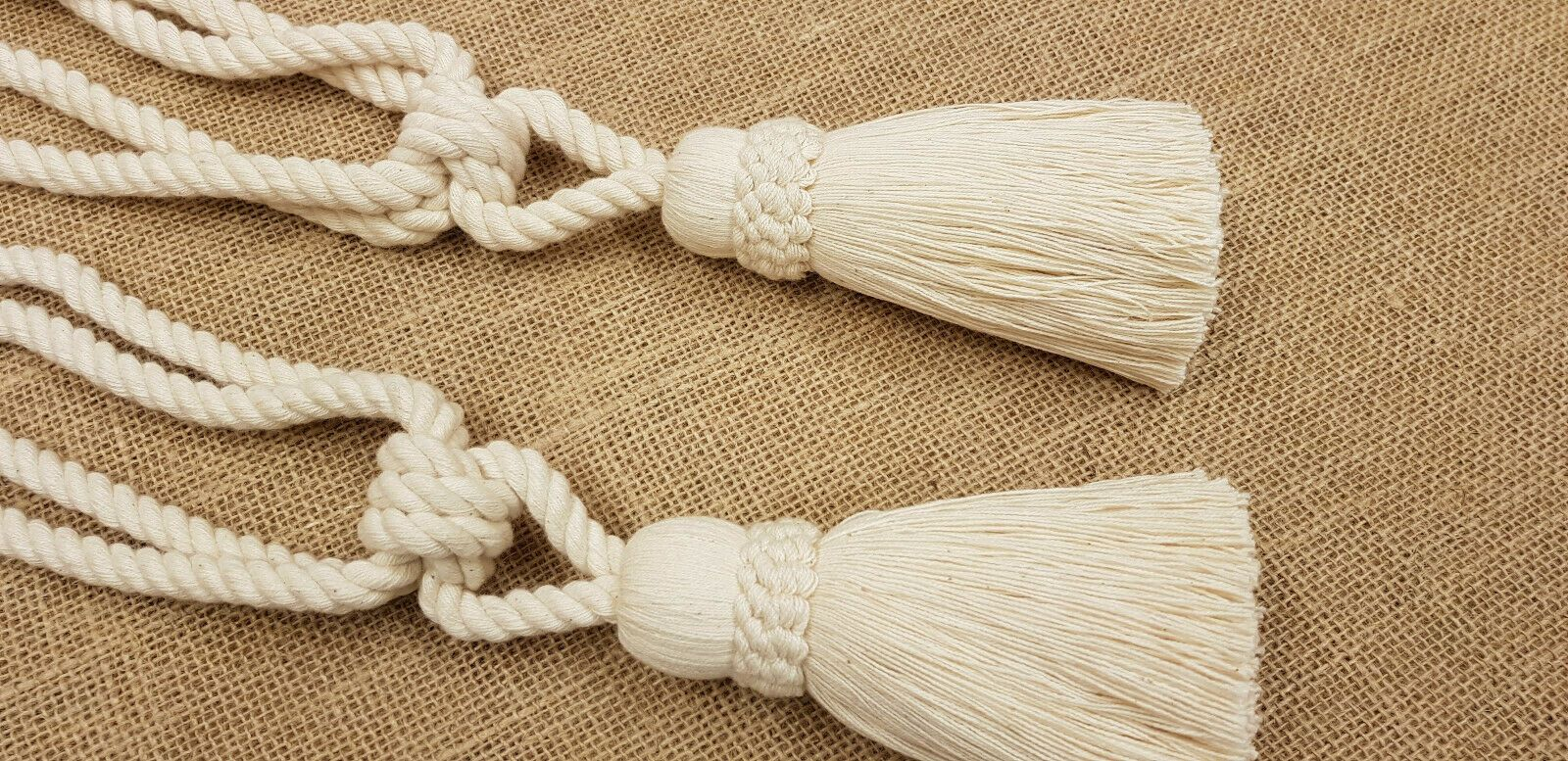 Curtains Blinds Accessories 3 Pairs Of Natural Cotton Rope Tie Backs Cord Ties Cable Tiebacks Home Furniture Diy Tohoku Morinagamilk Co Jp