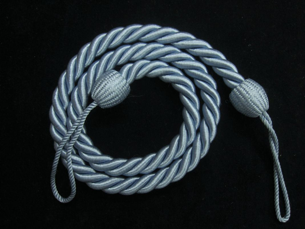 2 Rope Curtain Tiebacks Blue Slender Slinky Cord Drape