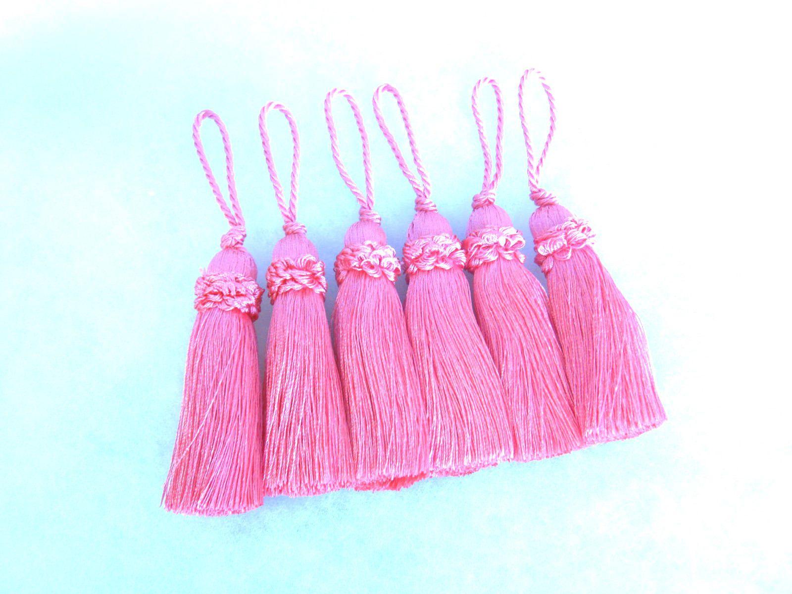6 Pink Key Tassel 10cm Loop Luxury Blind Cushion