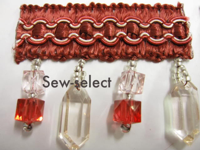Glass Beaded Curtain Trimming Fabric Crystal Trim Braid