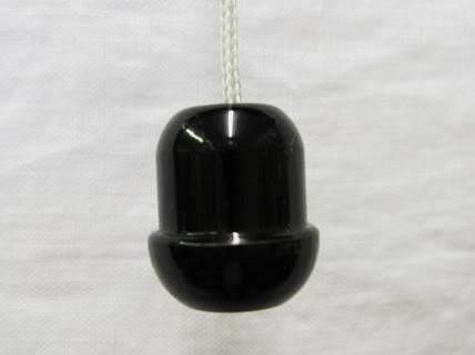 Small 2cm Black Cord Pull Cord Weight Knot End Blind
