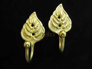 2 pairs CURTAIN TIE HOLD BACK HOOKS LEAF SOLID BRASS WITH SCREWS